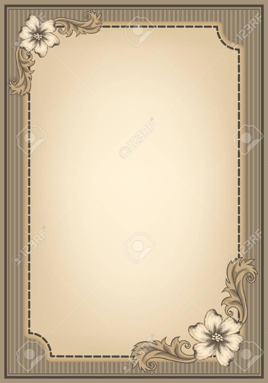vintage or nt frame and decorative border in retro style vector vintage or nt frame and decorative border in retro style design title page diploma or booklet antique engraving