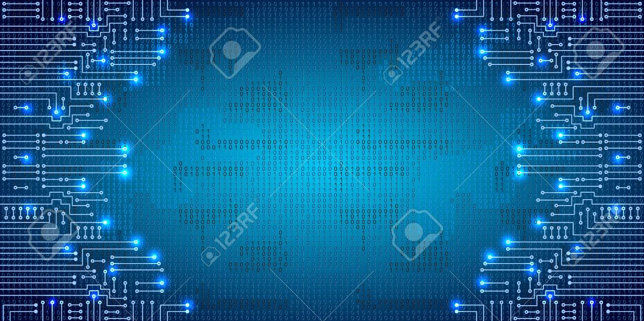 Drawing modern electronic circuit and binary code on blue grungy background - 58015055