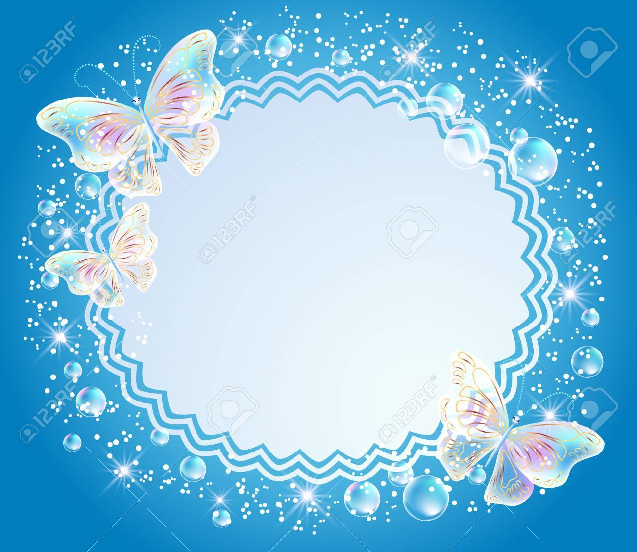 Fondo Mágico Con Mariposas Transparentes, El Marco De Calados Y Un ...