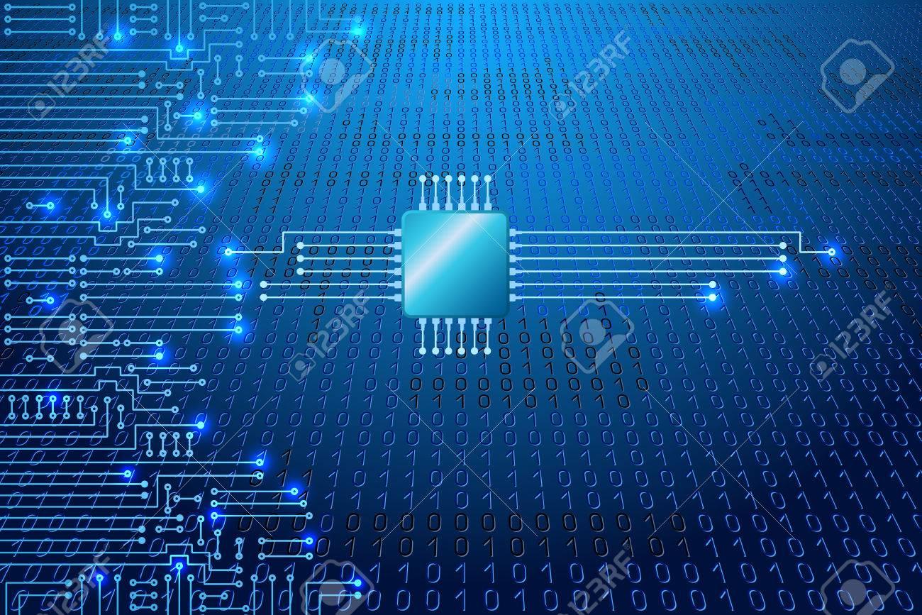 Circuito Electronico : Dibujo circuito electrónico moderno y código binario en fondo azul