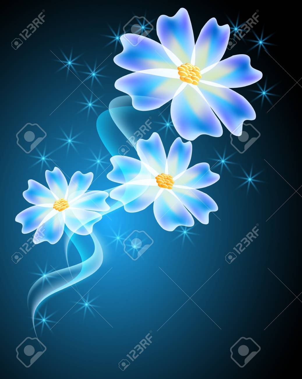 neon flowers with shiny stars and firework royalty free cliparts
