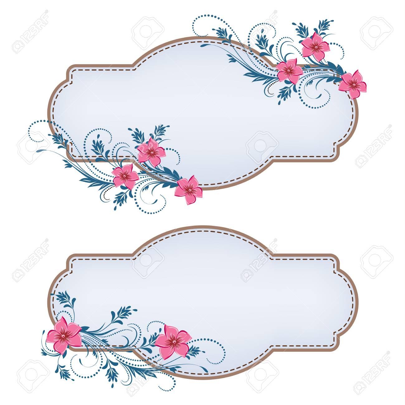 Set decorative labels with floral ornament