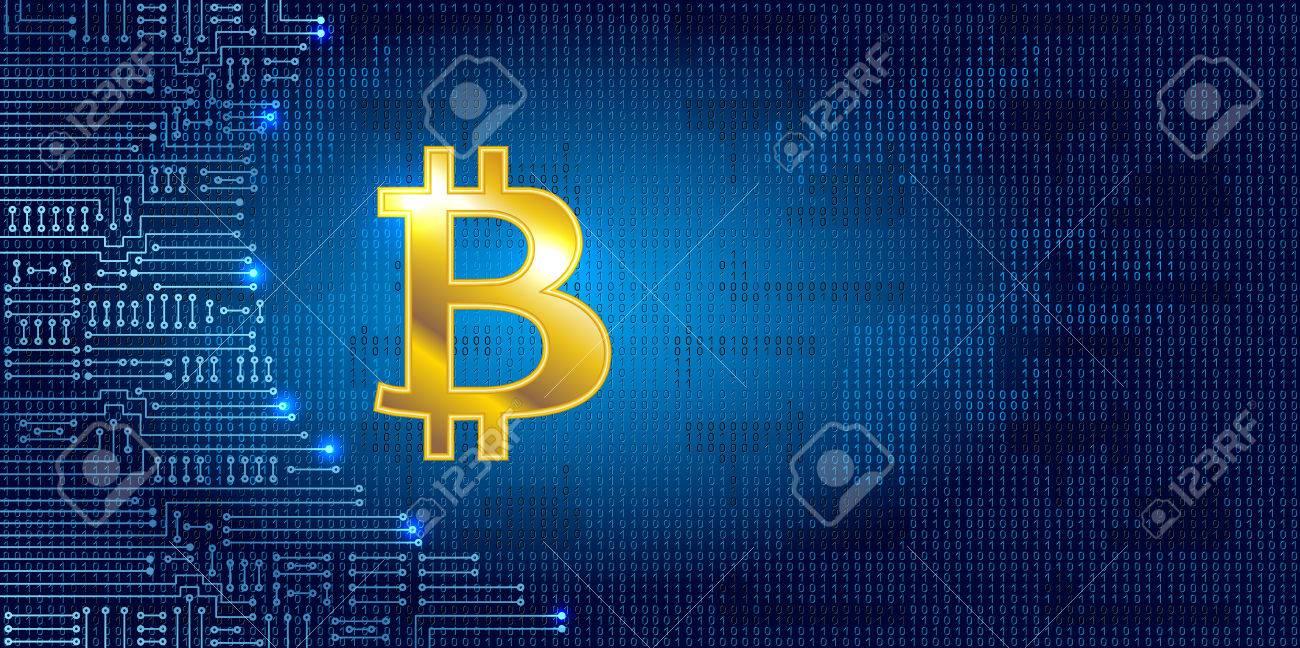 Virtuelles Symbol Der Münze Bitcoin Auf Binärcode Hintergrund Und ...