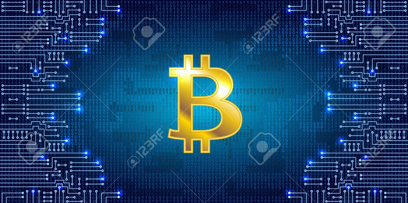 Virtual Symbol Of The Coin Bitcoin On Binary Code Background Electronic Circuit Symbols Stock Vector And Crypto Currency