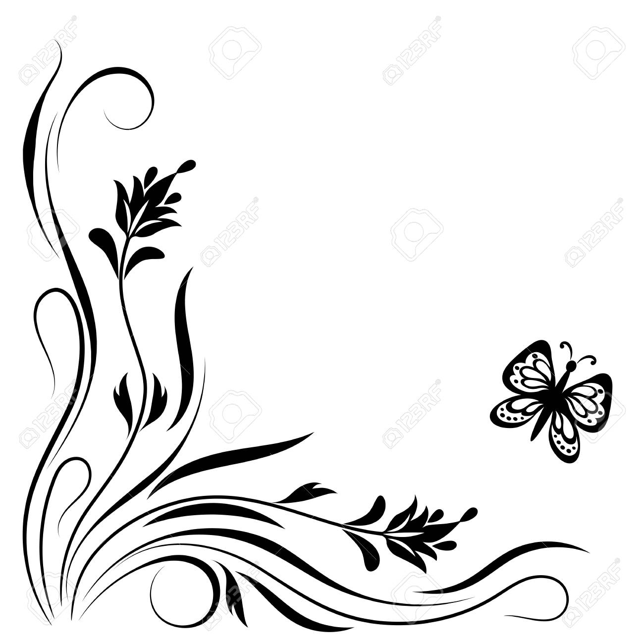 decorative floral corner ornament with flowers and butterfly