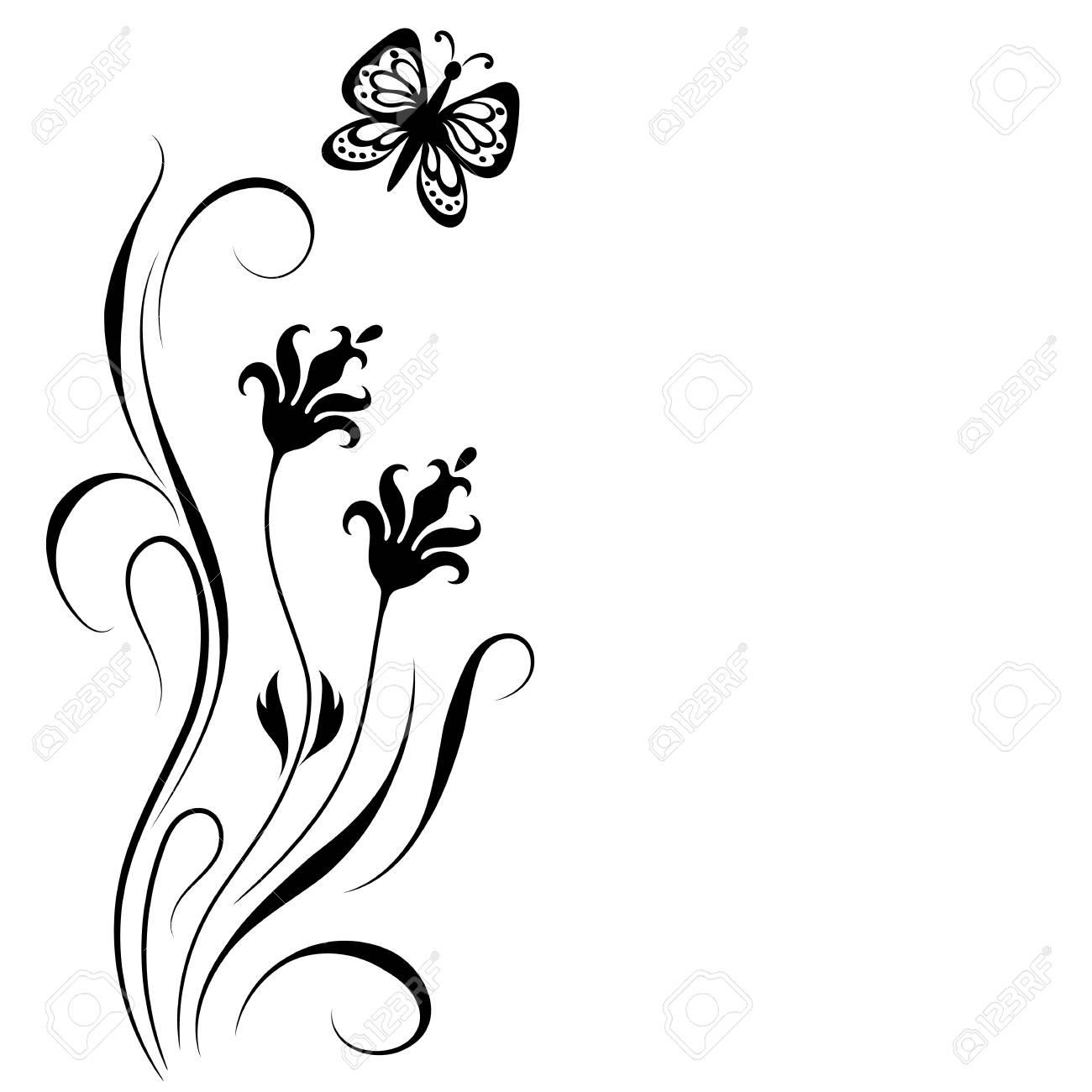 dekorative floralen ecke ornament mit blumen und schmetterling für
