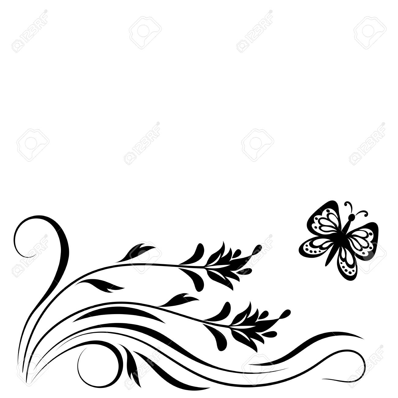 decorative floral corner ornament with flowers and butterfly royalty free cliparts vectors and stock illustration image 82895076 decorative floral corner ornament with flowers and butterfly
