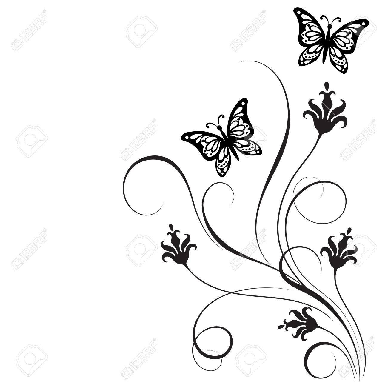 Dekorative Floralen Ecke Ornament Mit Blumen Und Schmetterling Für ...