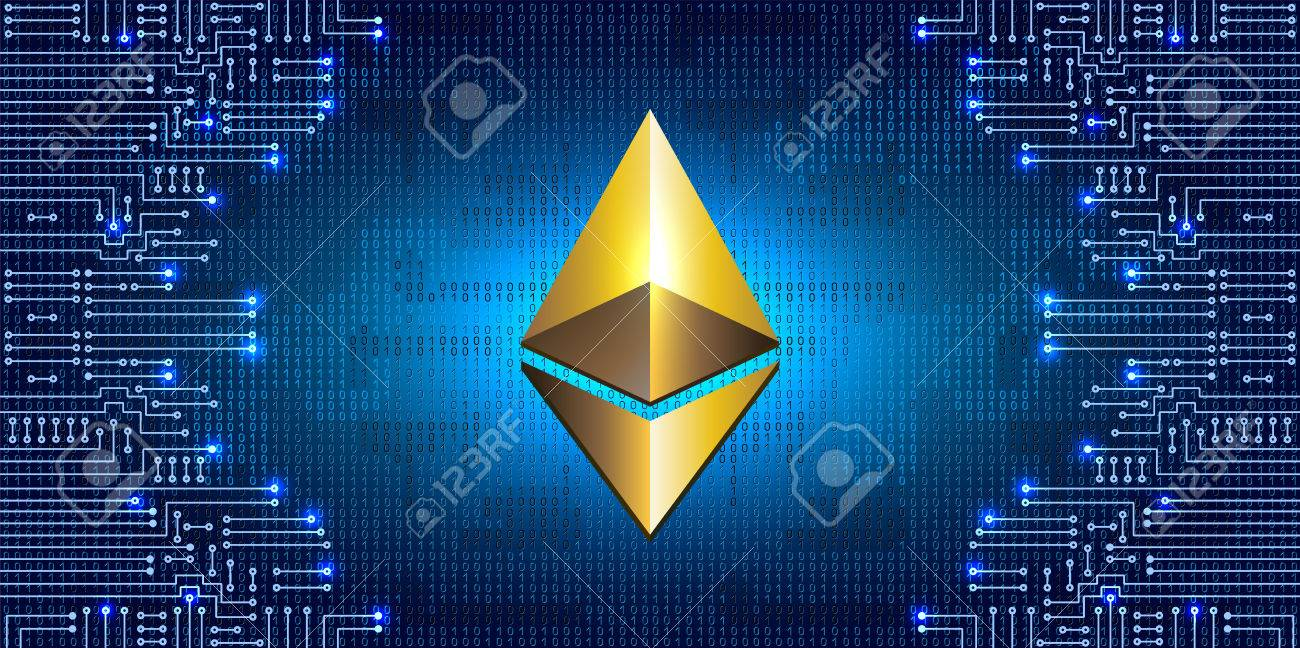 Virtual Symbol Of The Coin Ethereum On Binary Code Background Electronic Circuit Symbols Stock Vector And Crypto Currency