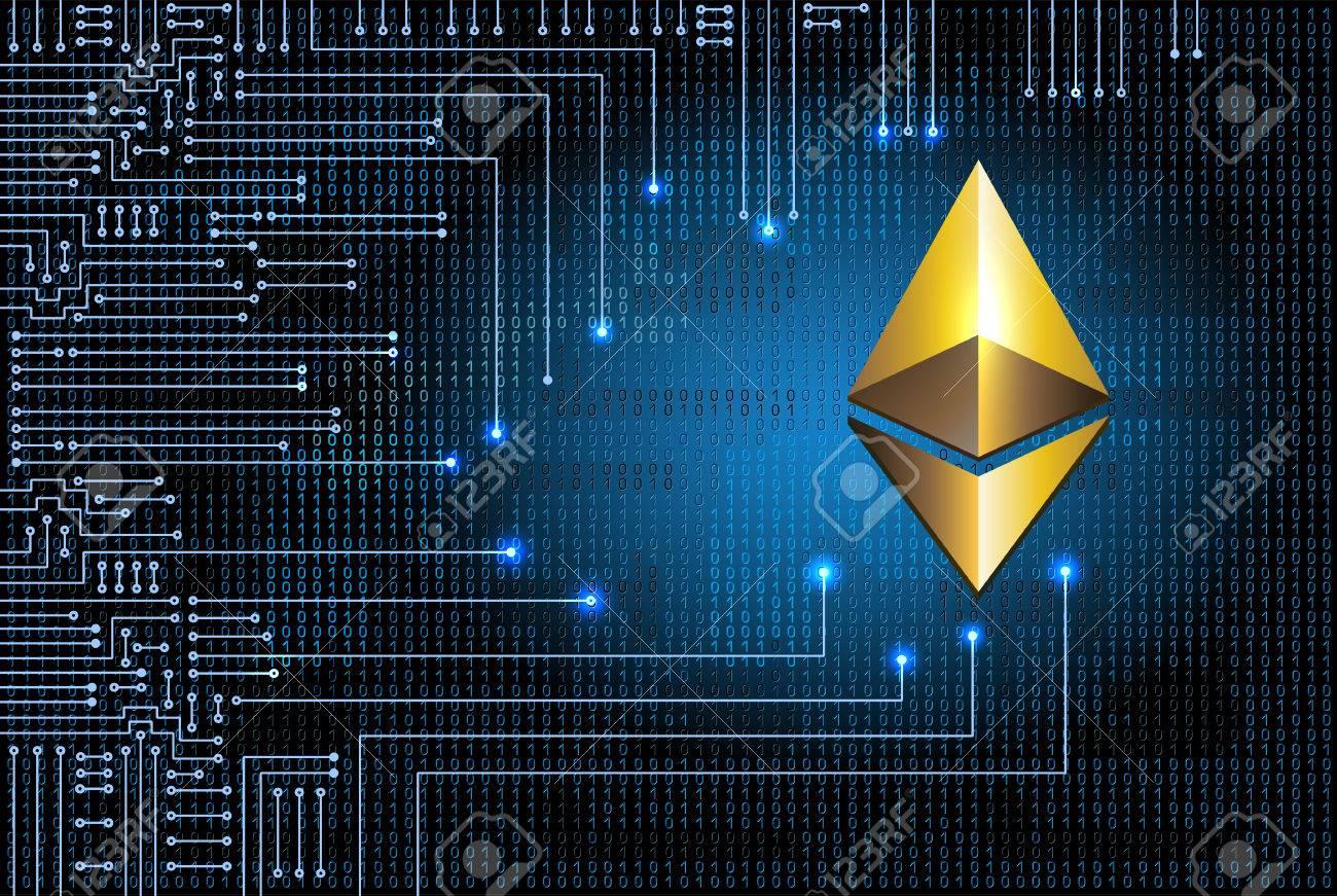 Circuito Virtual : Símbolo virtual de la moneda ethereum en el fondo del código