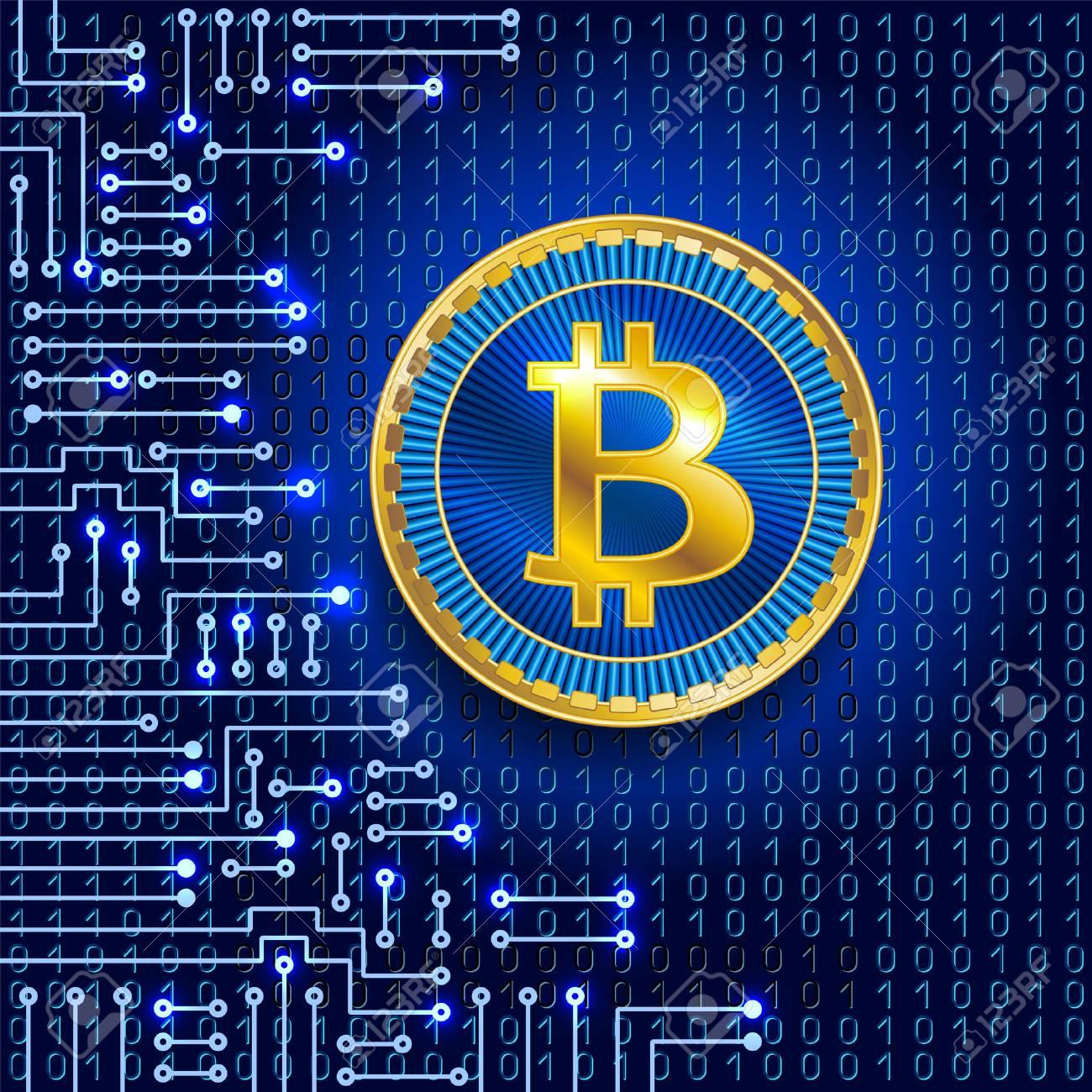 Virtuelles Symbol Der Münze Bitcoin Auf Binär Code-Hintergrund Und ...