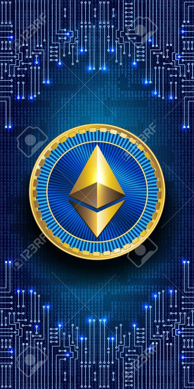 Virtuelles Symbol Der Münze Ethereum Auf Binärcode Hintergrund Und ...