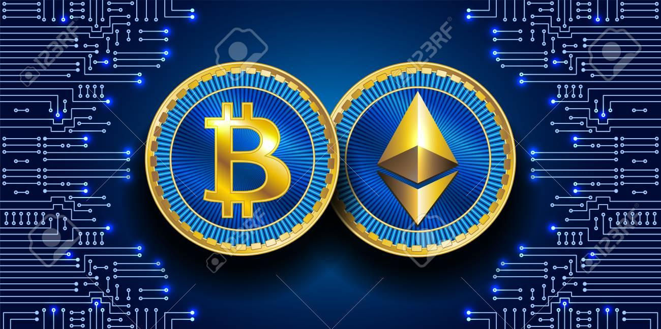 Virtuelle Symbole Der Münze Bitcoin Und Ethereum. Kryptowährung ...