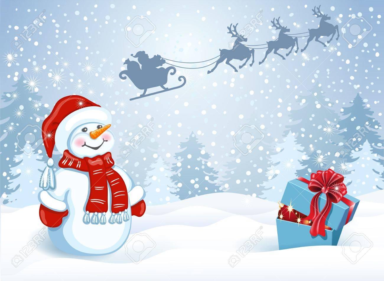 Carte De Noël Avec Boîte Cadeau Et Bonhomme De Neige Drôle Dans Santa Cap Contre Forêt D Hiver Et Le Père Noël En Traîneau Avec L équipe De Rennes