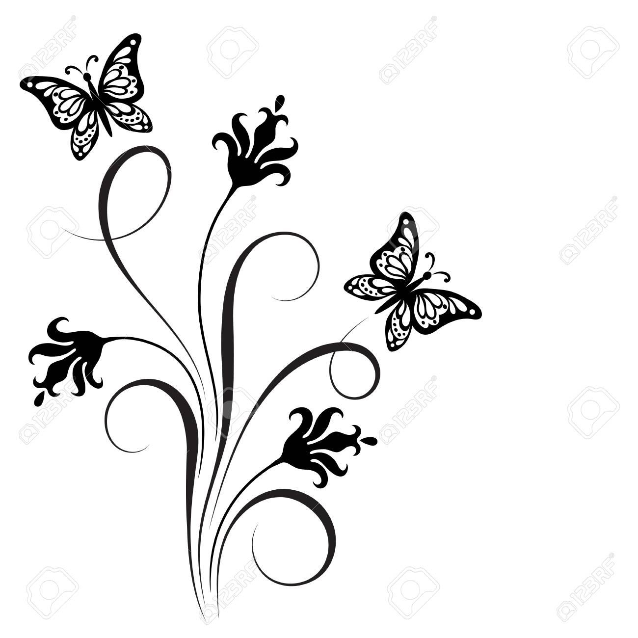 Dekorative Blumeneckverzierung Mit Blumen Und Schmetterling Für ...