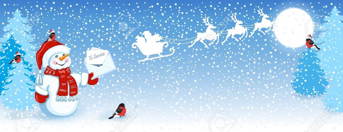 Carte De Noël Avec Drôle De Bonhomme De Neige En Chapeau De Santa Avec La Lettre De Noël Pour Le Père Noël Contre Le Fond De Forêt D Hiver Les