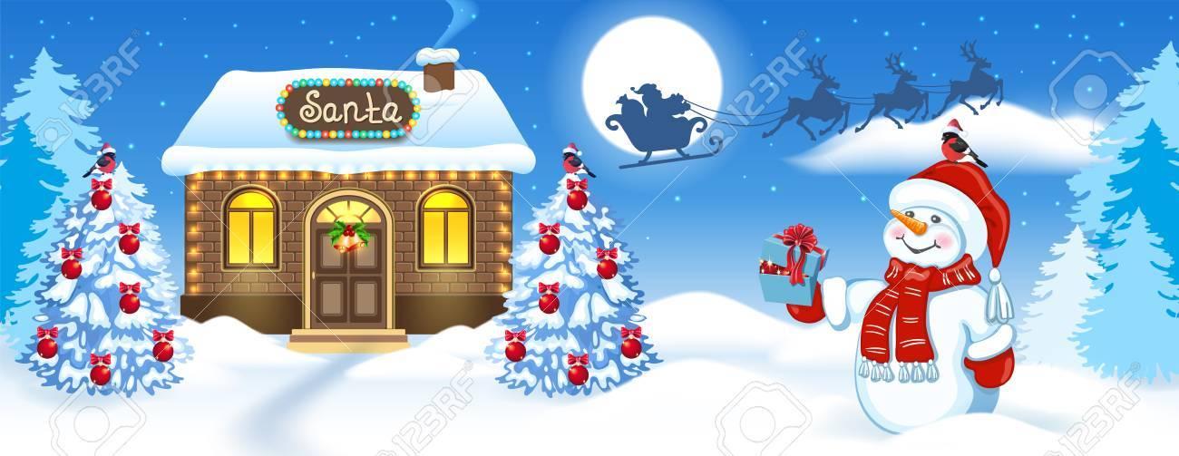 Carte De Noël Avec Bonhomme De Neige Maison En Brique Et Atelier Du Père Noël Contre Le Fond De La Forêt D Hiver Et Le Père Noël En Traîneau Avec