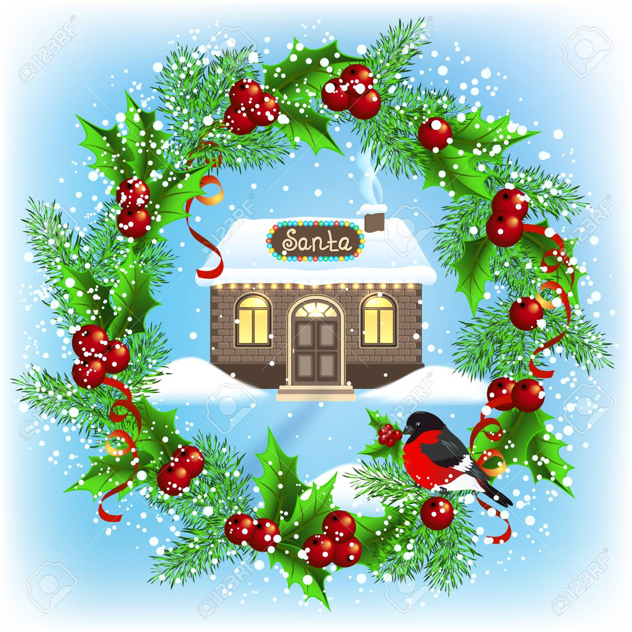 Carte De Noël Avec Couronne Maison En Brique Et Atelier Du Père Noël Carte Postale De Conception De Nouvel An