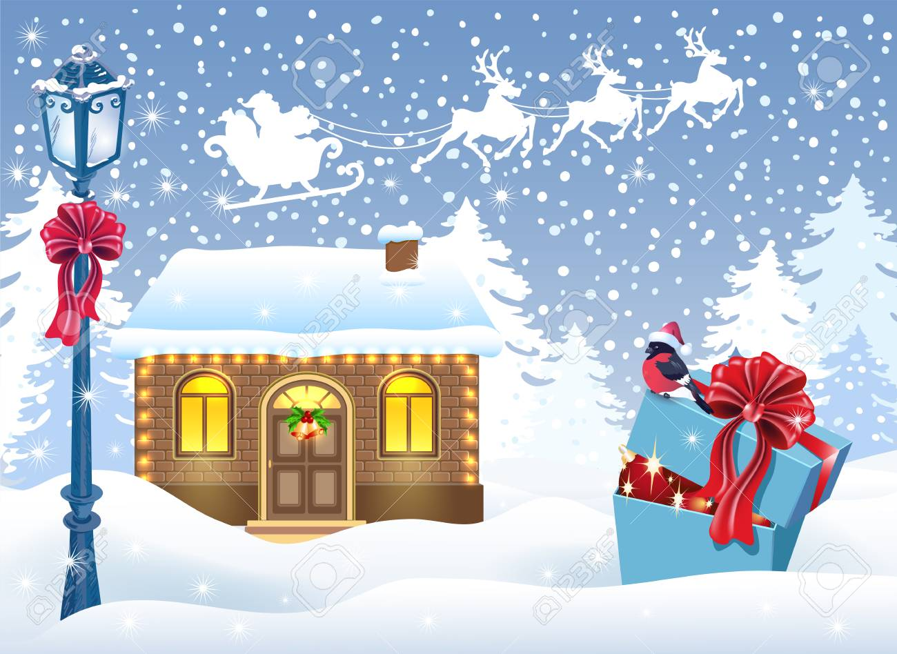 Christmas Card With Santa\'s Workshop And Gift Box Against Winter ...