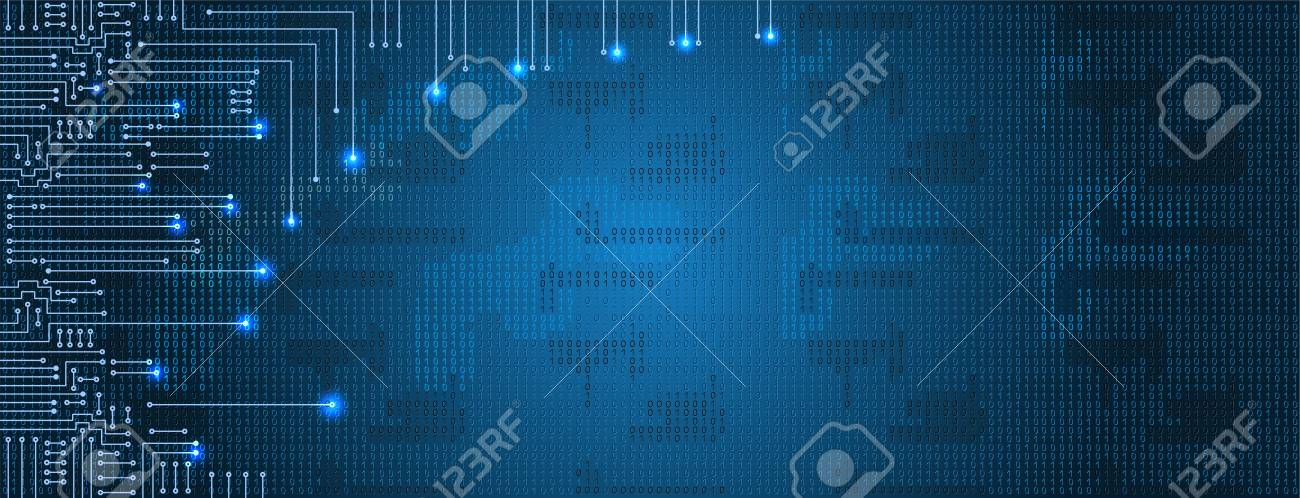 Drawing modern electronic circuit and binary code on blue background - 97713118