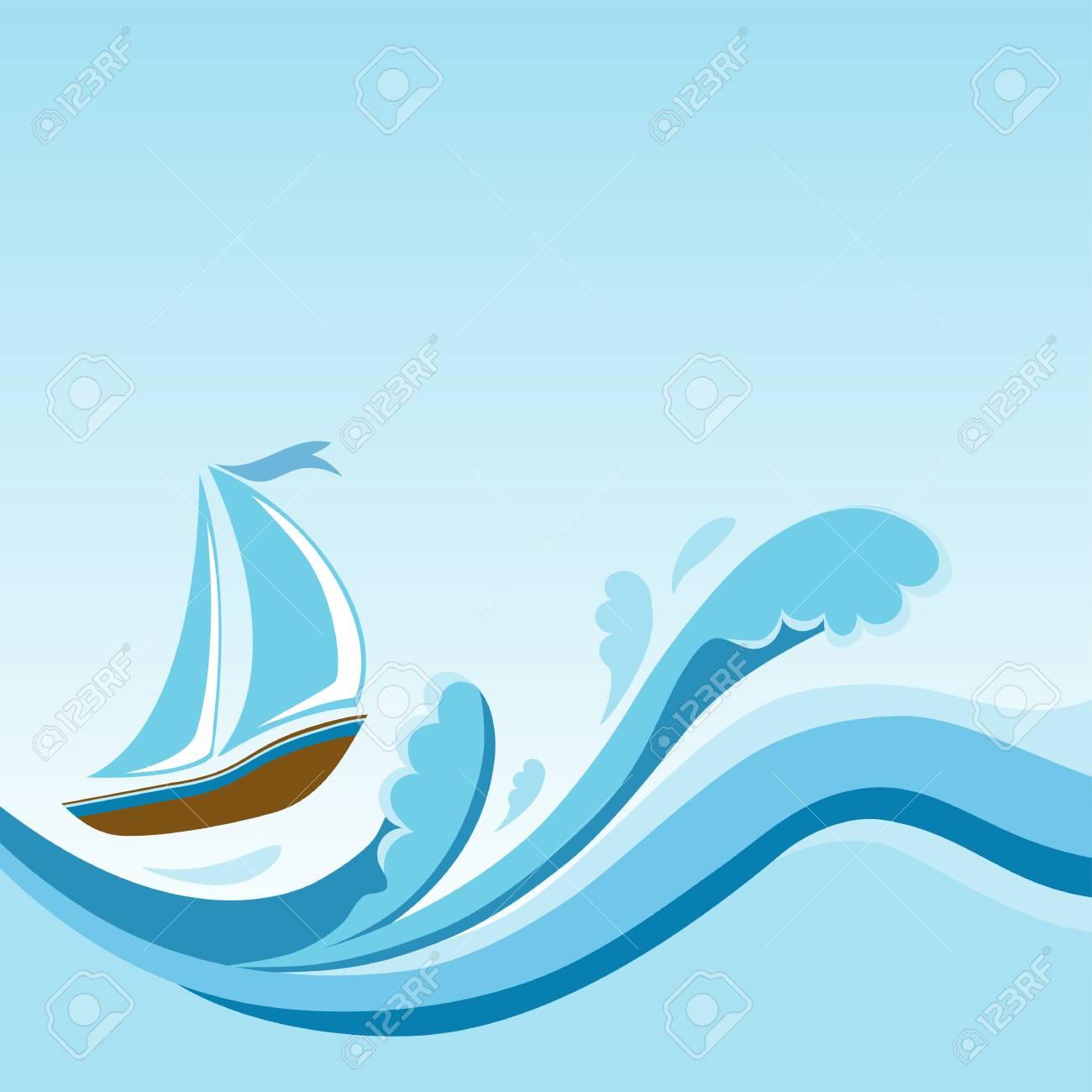 sailboat on sea waves template design royalty free cliparts vectors