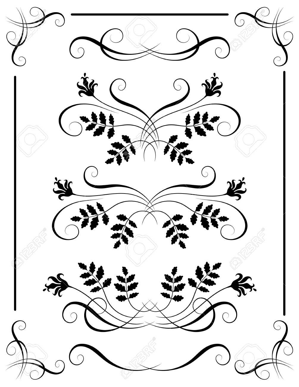 set vintage ornament and decorative divider for greeting card