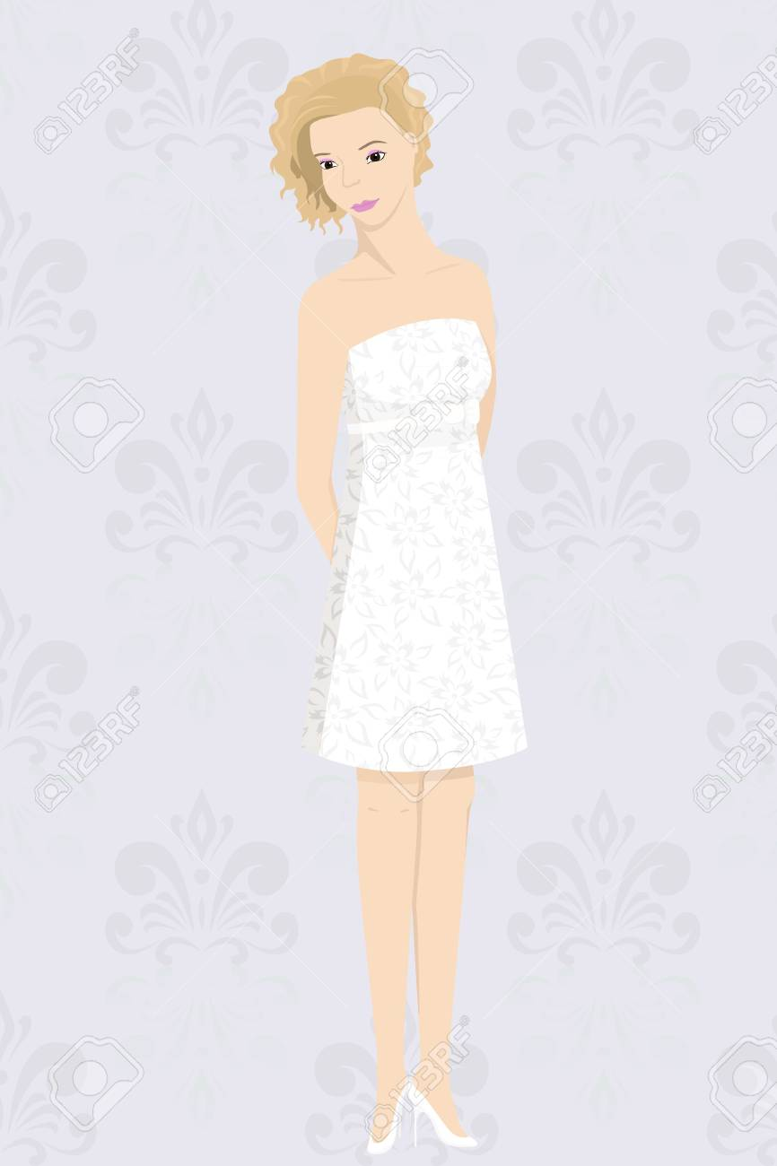 bride in mini dress Stock Vector - 16120717
