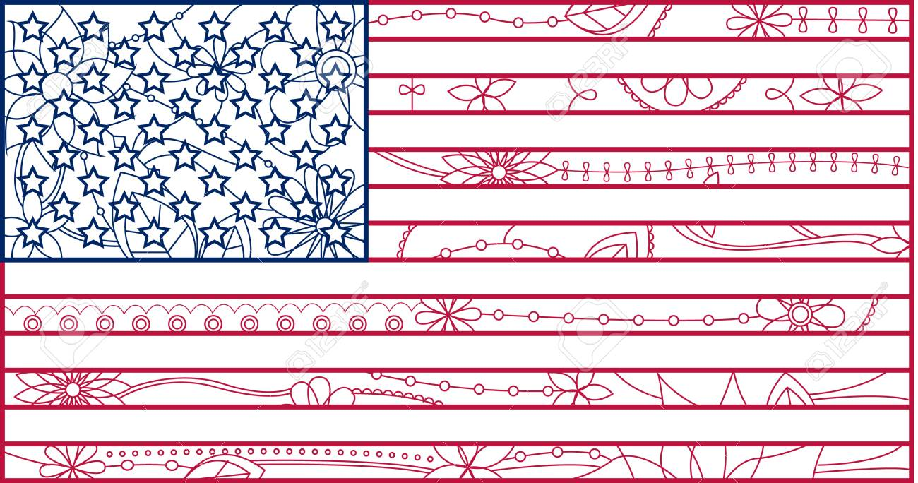 usa flag outline stock vector 30644616