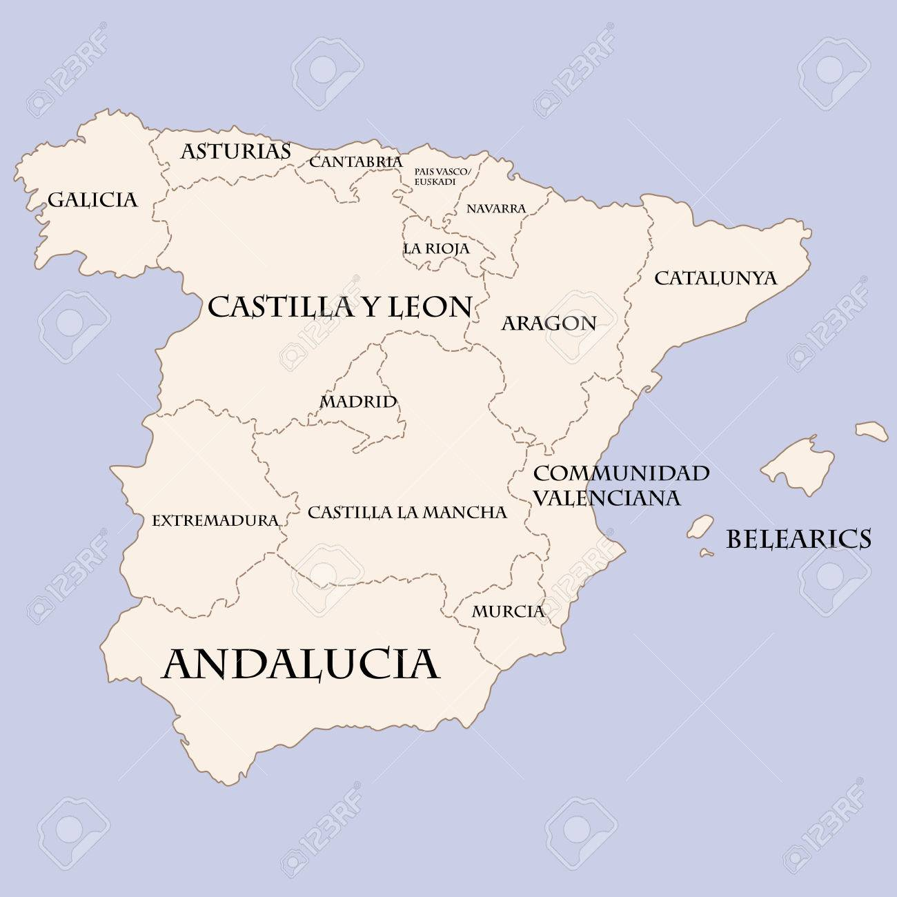 Spain map with regions names
