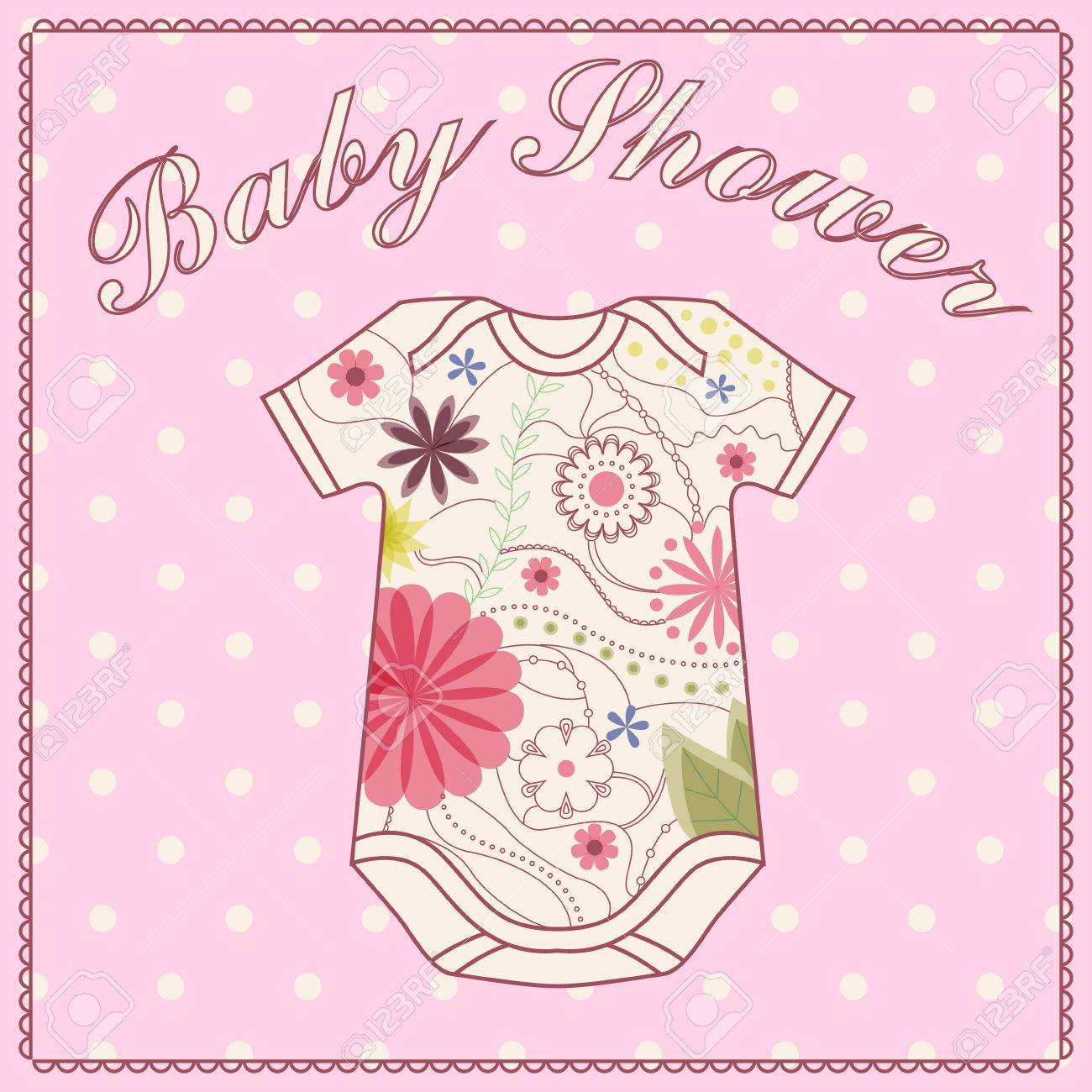 Vector Vintage Baby Shower Girl With Bady Clothing Royalty Free