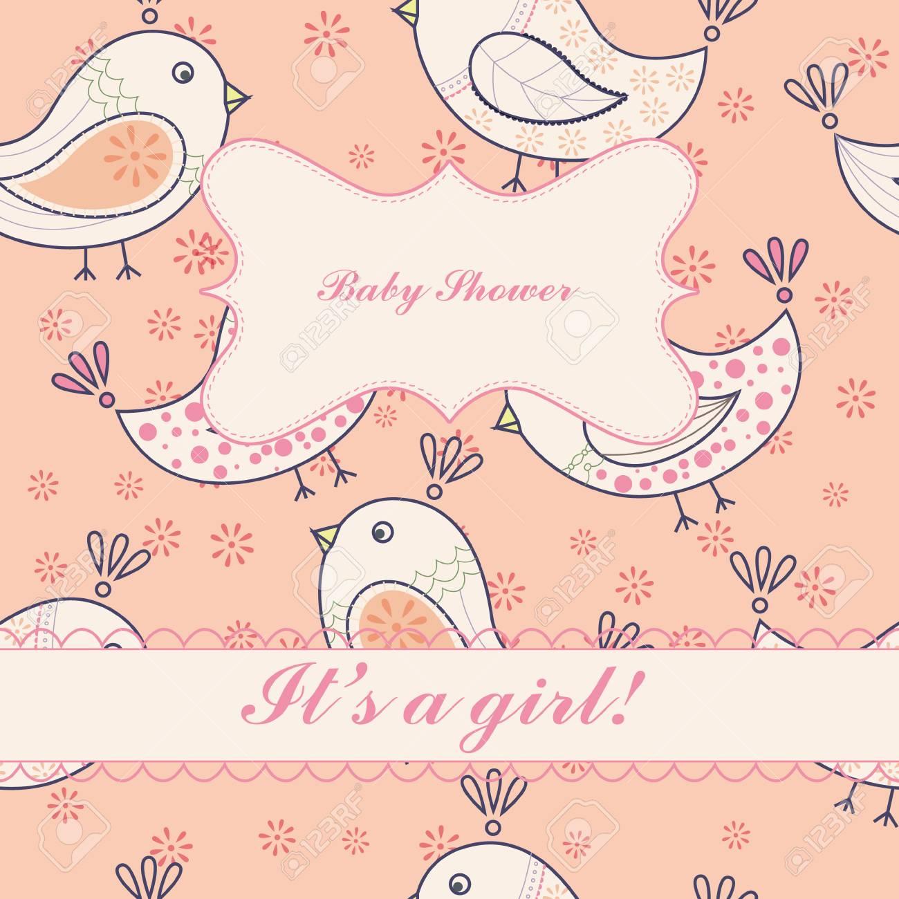 Vector Vintage Birds Baby Shower Girl Royalty Free Cliparts Vectors