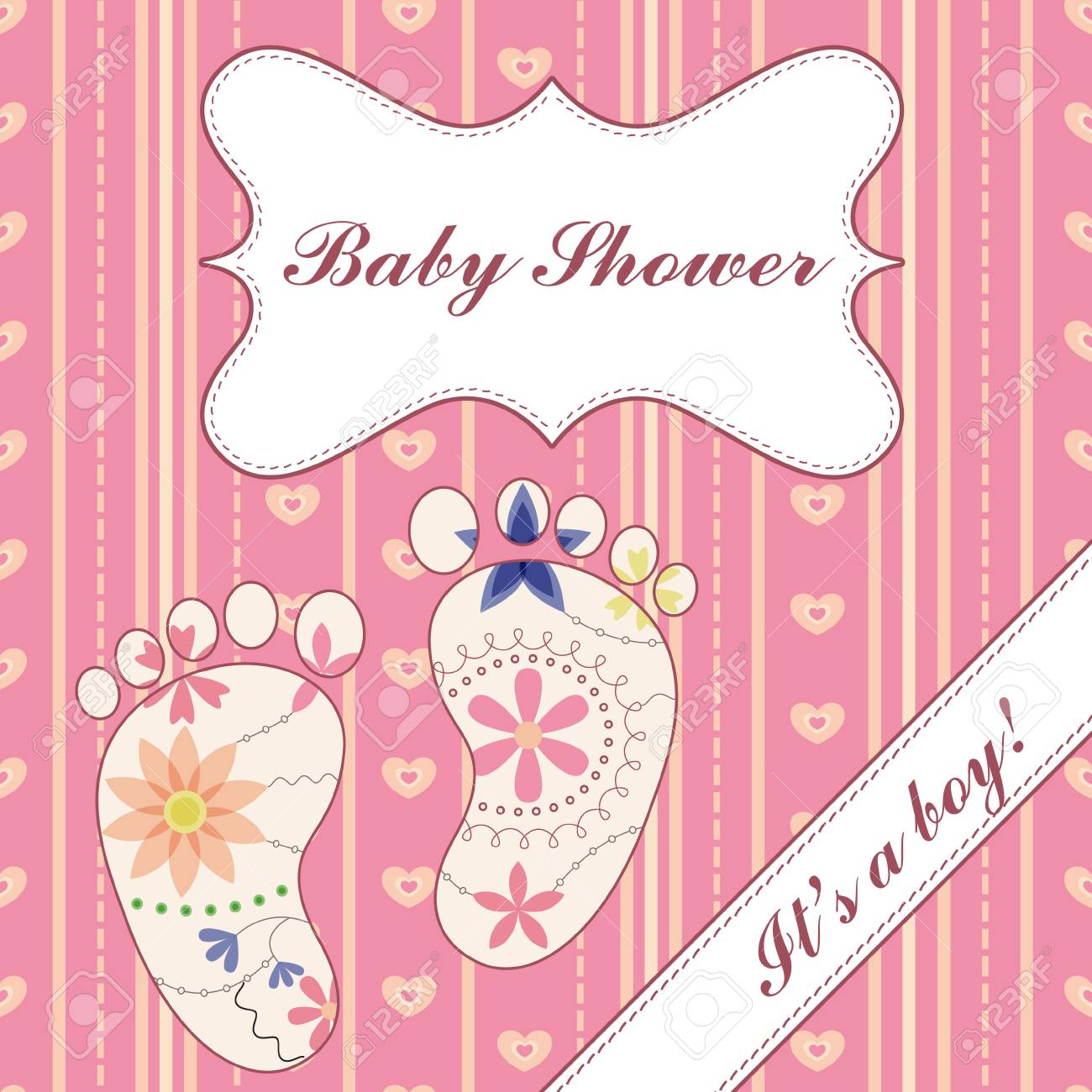 Background With Banner And Feet Baby Shower Girl Vintage Royalty