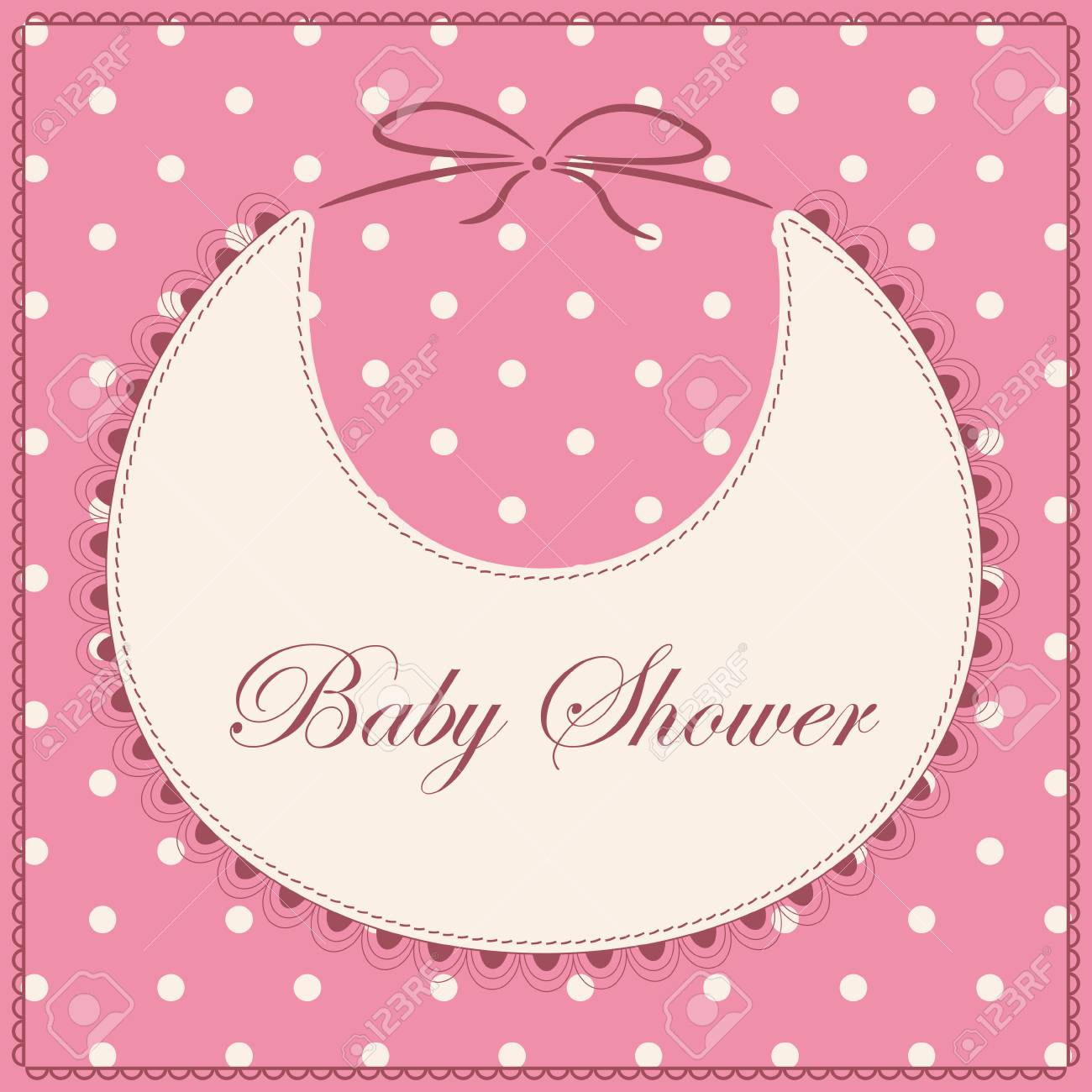 Vector Card Baby Shower With Bib Pink Vintage Royalty Free Cliparts