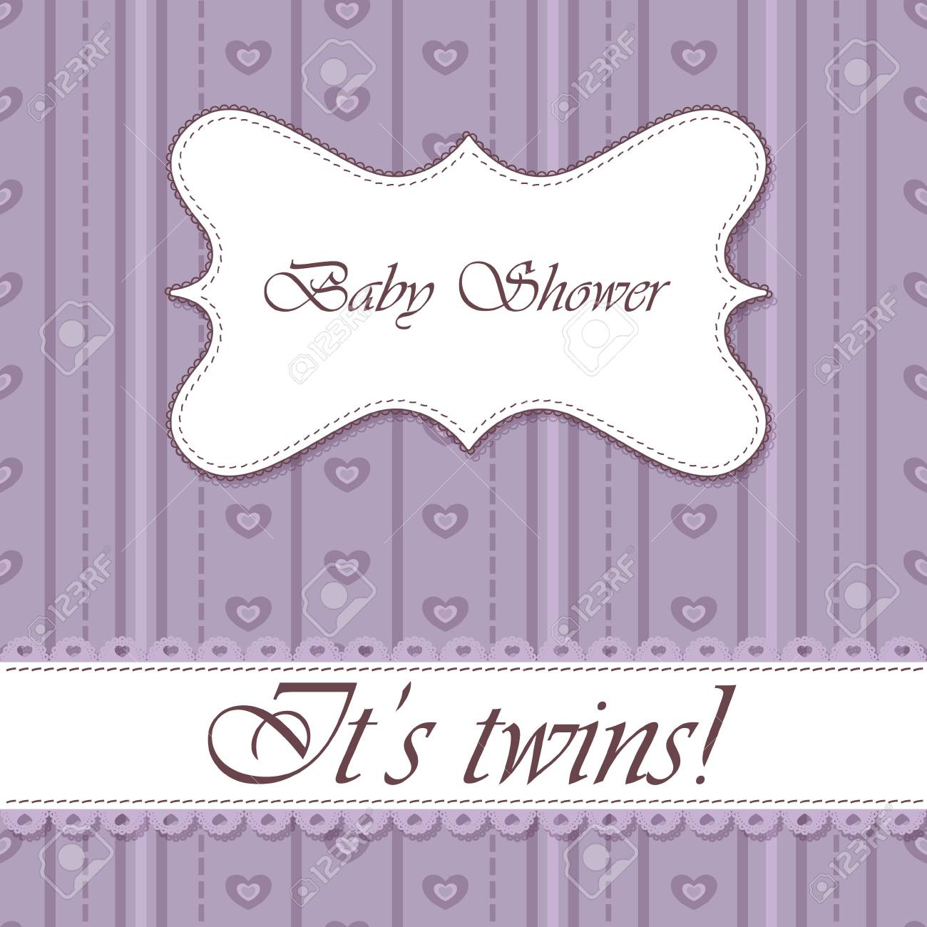 Vector Striped Baby Shower Twins Vintage Royalty Free Cliparts