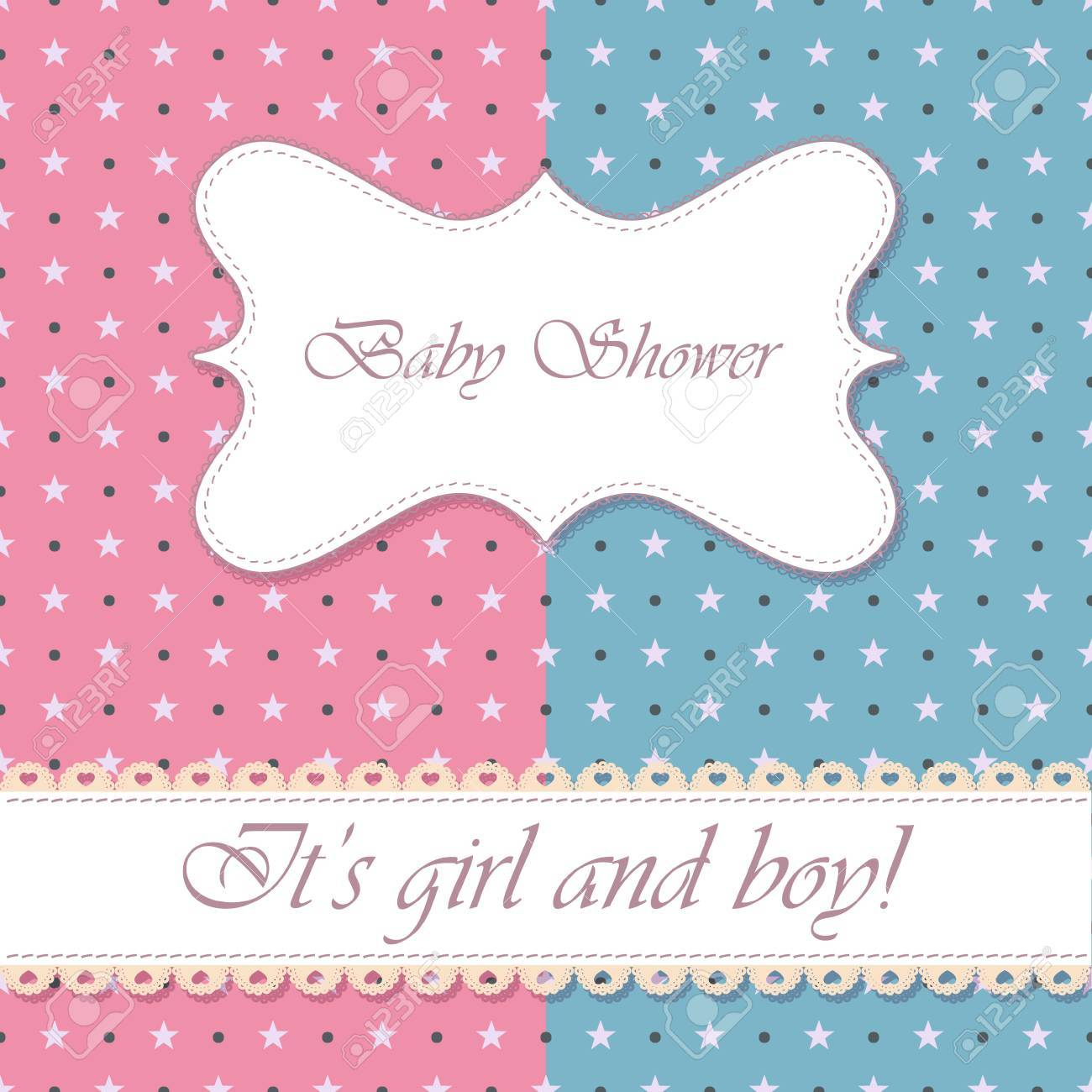 Vector Polka Dot Baby Shower Girl And Boy Vintage Royalty Free