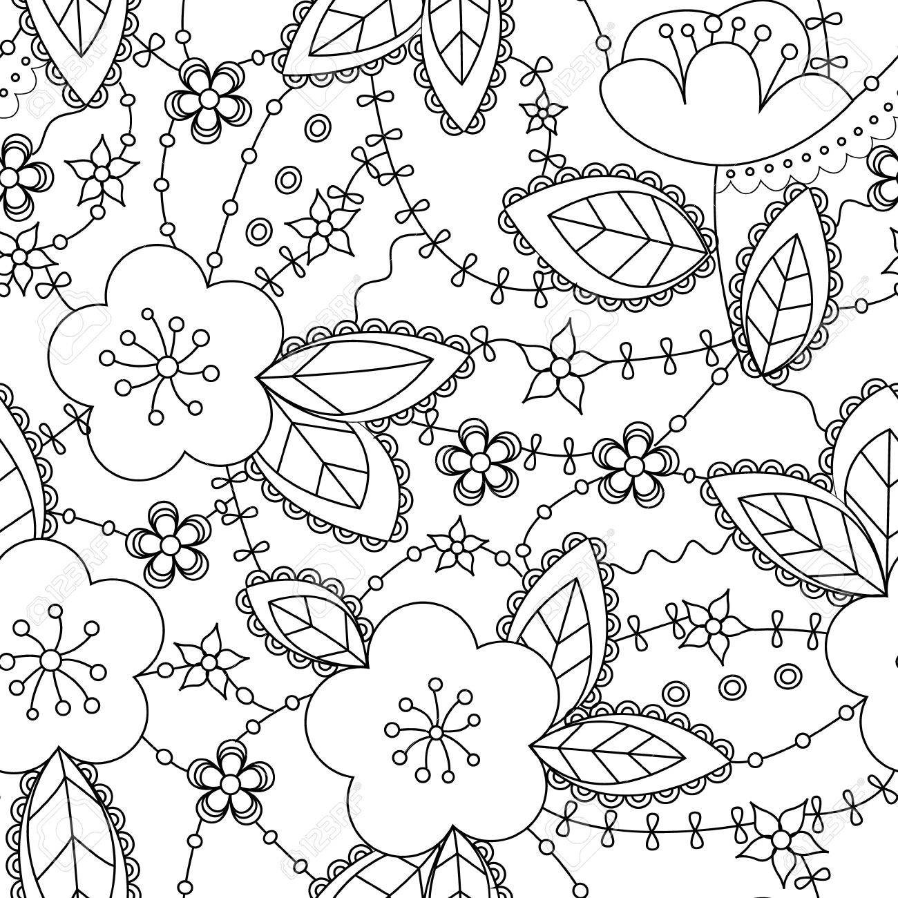 Vector vector coloring antistress with apple flowers