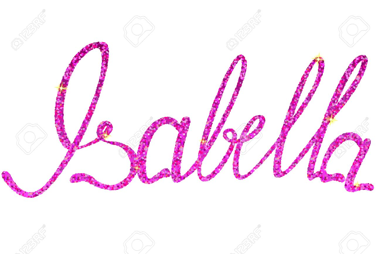 Vector Isabella Name Lettering Tinsels Royalty Free Cliparts