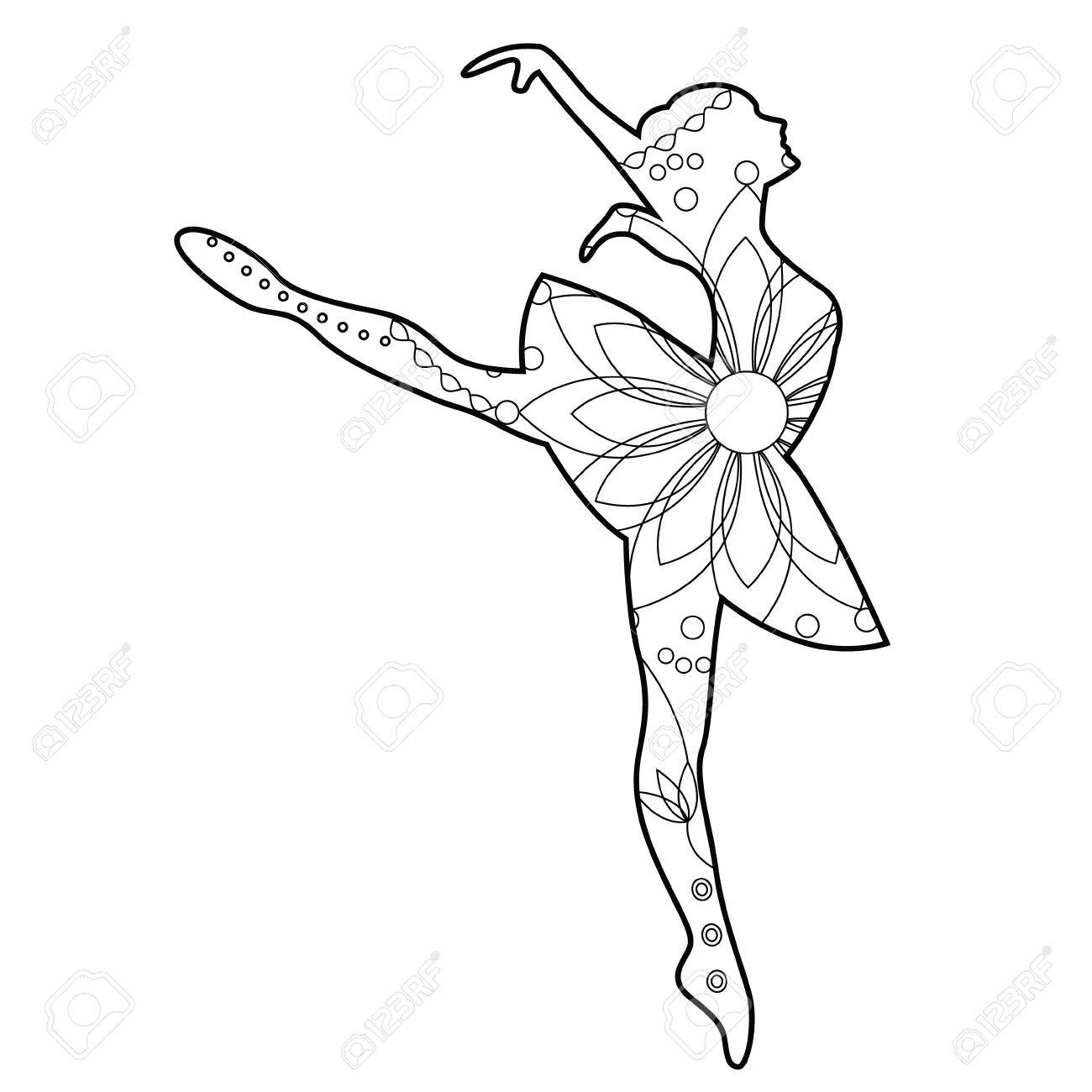 Coloriage Danseuse Ballet.Vecteur Danseuse De Ballet A Colorier Clip Art Libres De Droits