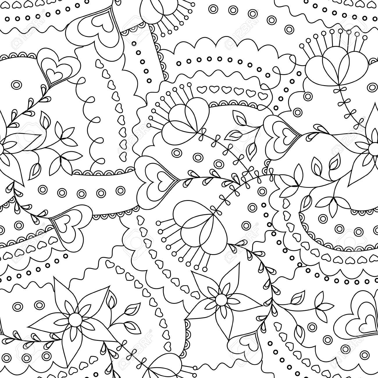 Vector Flores Y Corazones Para Colorear Patrón Ilustraciones