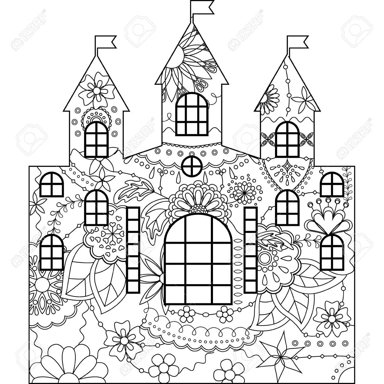 Vector Silhouette Stencil Template Castle Coloring Royalty Free