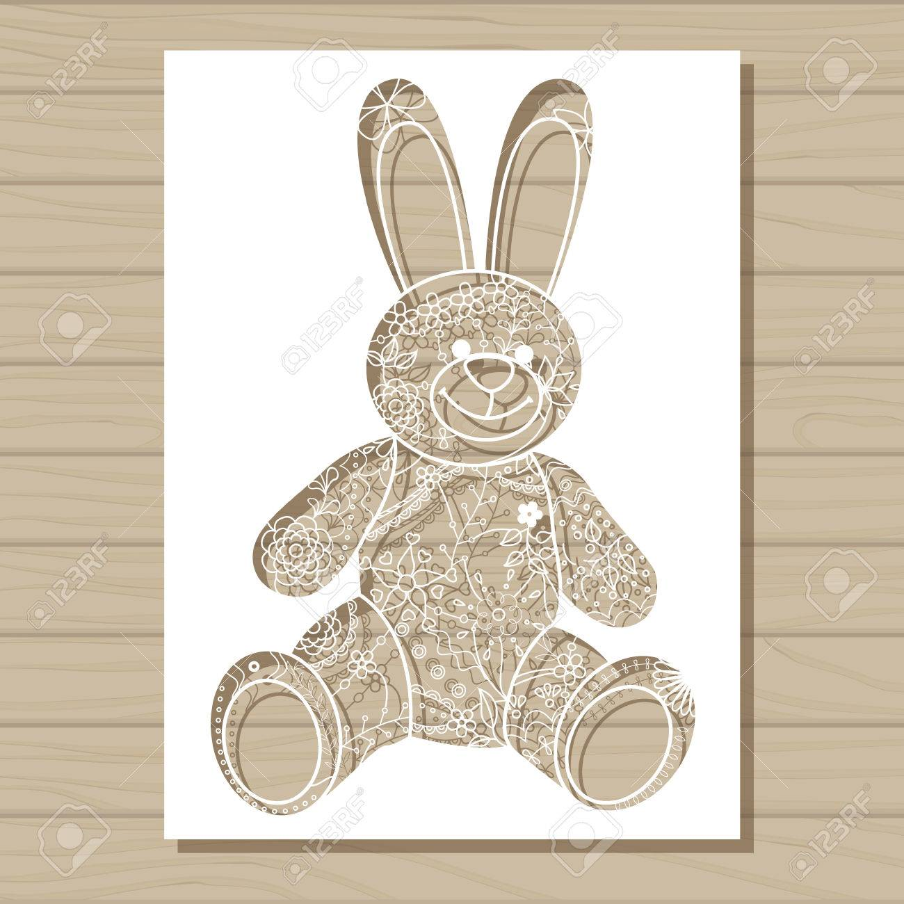 vector stencil template of bunny on wooden background royalty free