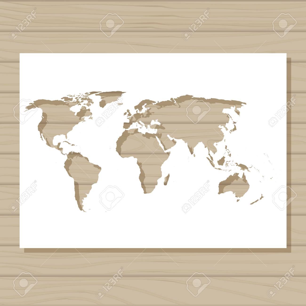 Carte Du Monde Sur Bois.Vecteur Modele De Pochoir De Carte Du Monde Sur Fond De Bois Clip