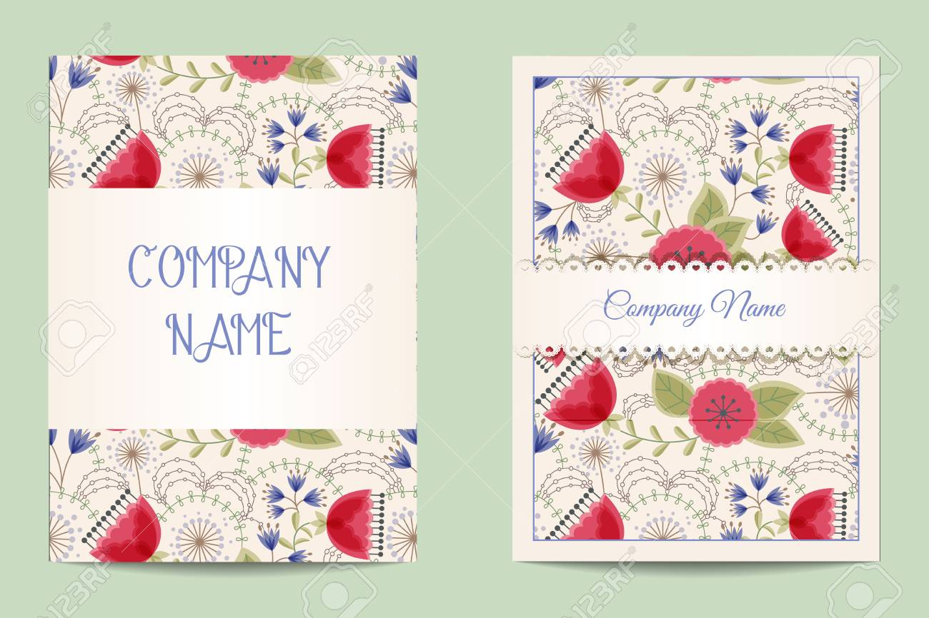 Vector Floral Business Cards Royalty Free Cliparts Vectors And