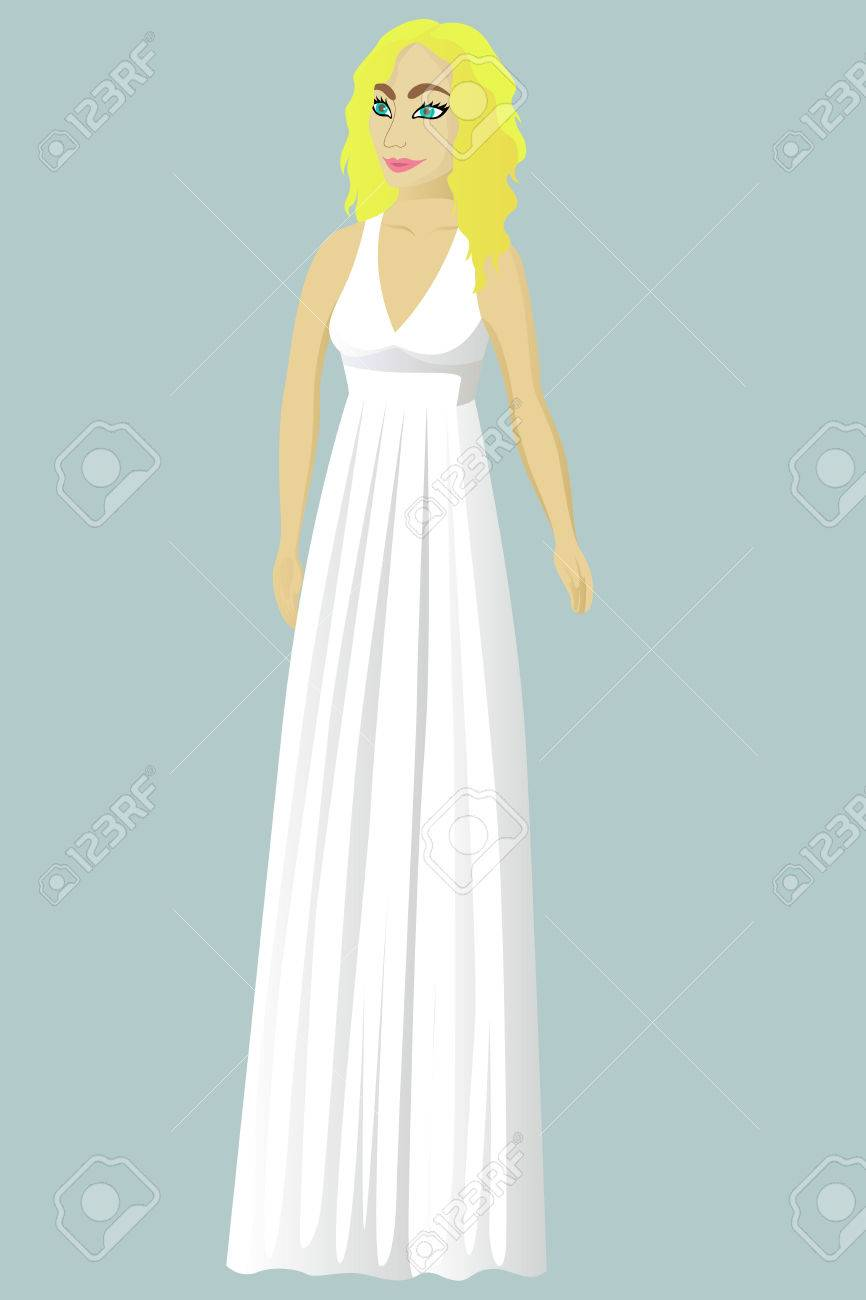 Novia En La Boda Vestido De Griego Ilustración Vectorial ...