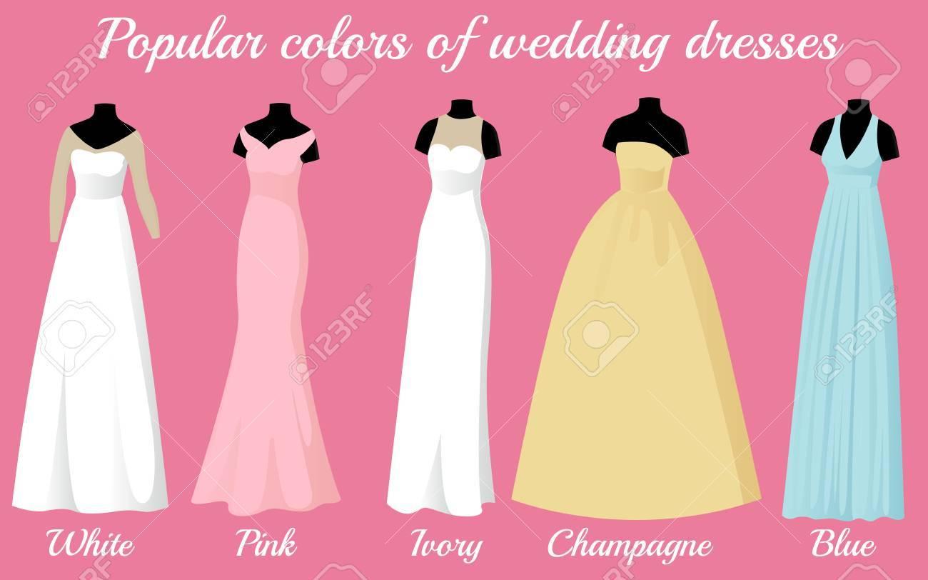 Wedding Dresses Of Popular Colors On Mannequins Vector Illustration ...