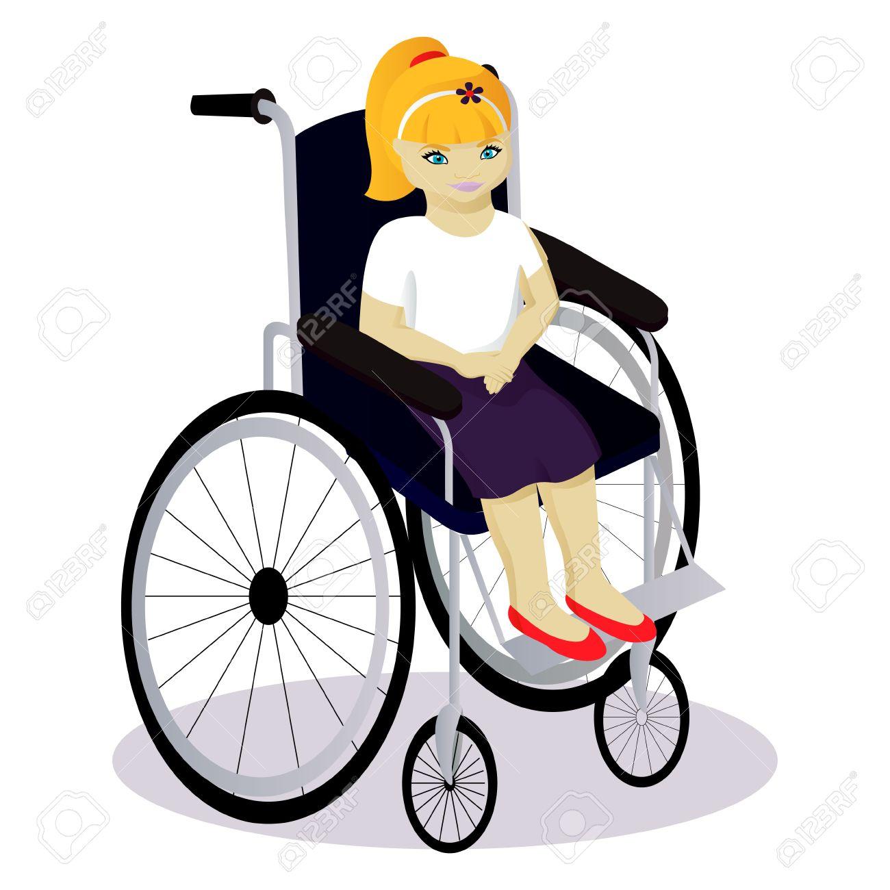 Petite Fille Handicapée Dans Une Illustration Vectorielle De Fauteuil Roulant