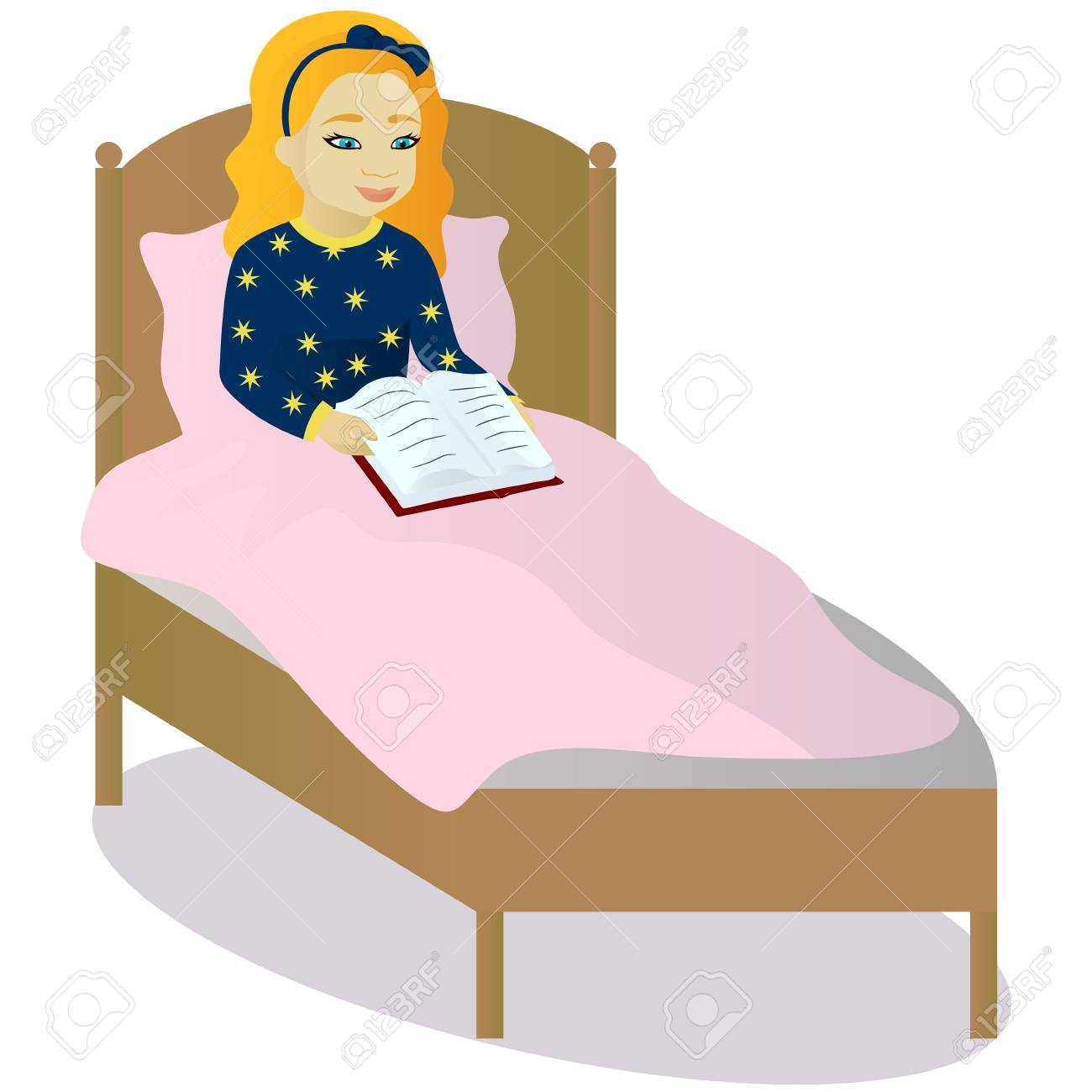 Image result for reading in bed clipart