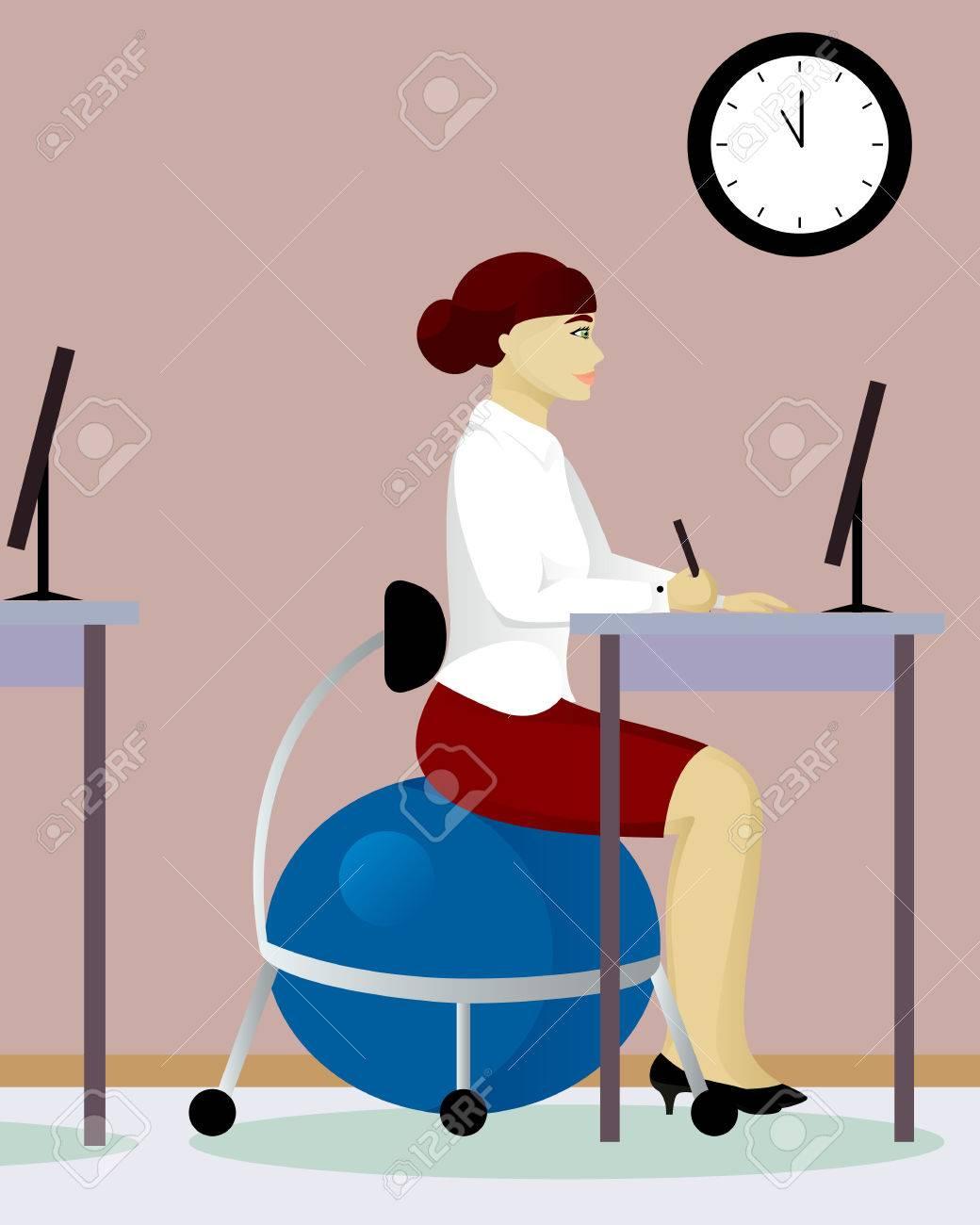 La Fitball Mujer Vector Oficina Silla Ilustración De En vmwNn08