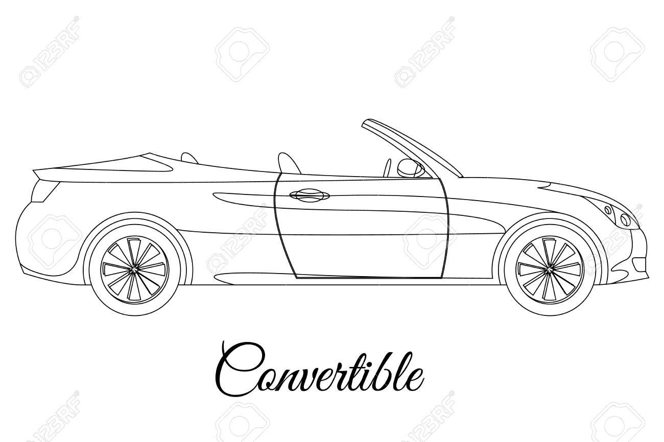 convertible car body type outline vector illustration royalty free