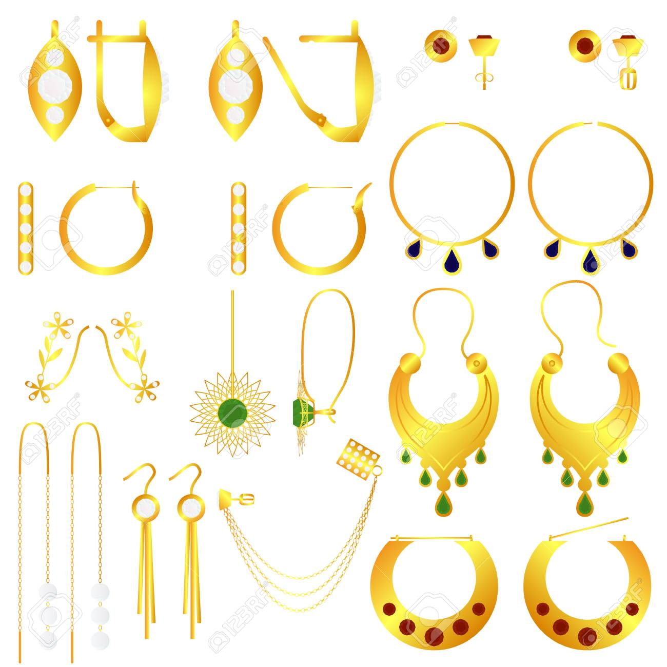 Earring Clasp Types Golden Earrings Vector Set Royalty Free Cliparts